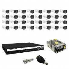 Kit CFTV Dvr 1032 Intelbras 32 Camera Intelbras1010b 720P  fonte Bnc P4