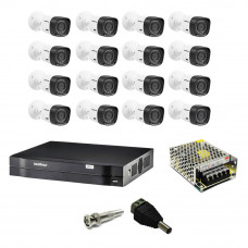 Kit Cftv Dvr 1016 Intelbras 16 Camera 1120B 720P Intelbras Fonte Bnc P4