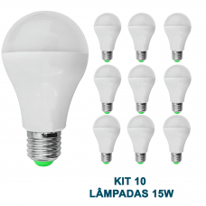 Kit 10 Lampada Led 15w Bulbo Soquete E27 Bivolt