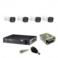 Kit Cftv DVR Intelbras 1004+ 4 Camera 1MP 720P 1010b Bnc P4 Fonte