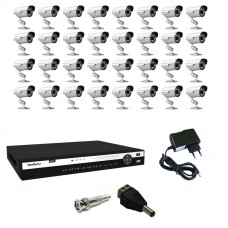 Kit Cftv Dvr 1132 Intelbras 32 Cameras A-hd 720p Power XL 1MP Fonte Bnc P4