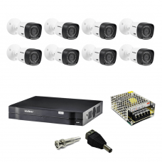 Kit Cftv DVR 1008 Intelbras 8 Camera HDCVI Intelbras 1120B Fonte Bnc P4